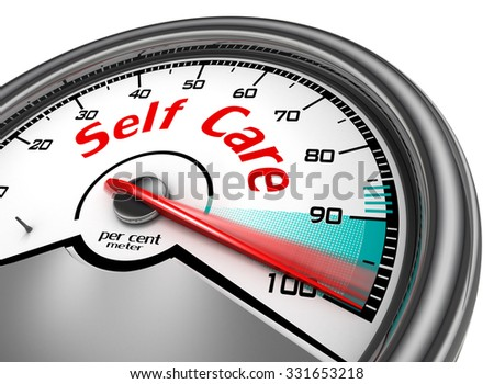 Self care hundred per cent conceptual meter, isolated on white background - stock photo
