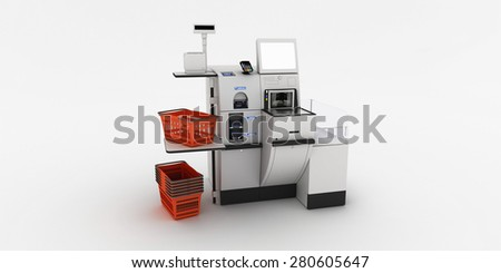 Self-checkout machine on a white background