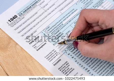 self-completed tax form in the U.S