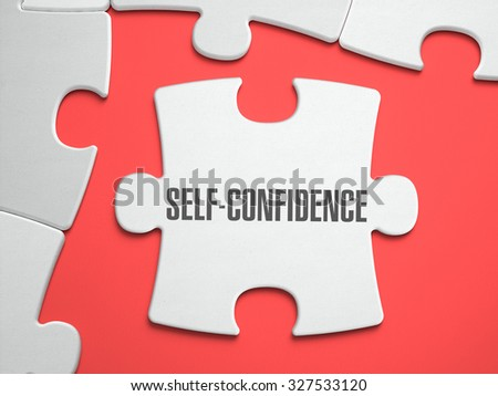 Self-Confidence - Text on Puzzle on the Place of Missing Pieces. Scarlett Background. Close-up. 3d Illustration. - stock photo