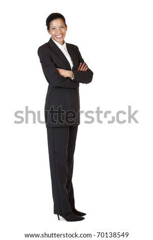 Self confident business woman smiles happy into camera. Isolated on white background. - stock photo