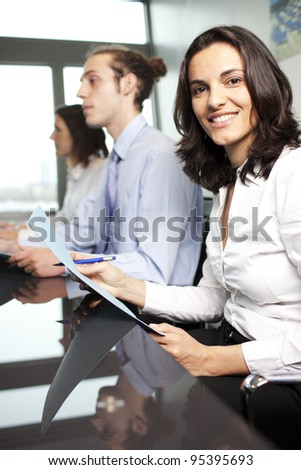 Self-confident latin businesswoman in an office
