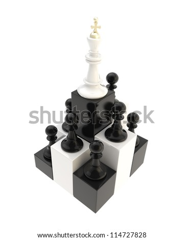 Self development conception: chess king at the top among multiple black and golden pawns isolated on white background - stock photo