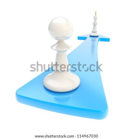 Self development conception: chess pawn turns into the king over the blue arrow isolated on white background - stock photo