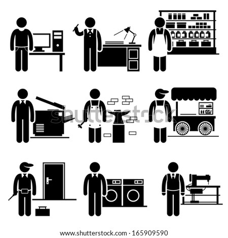 Self Employed Small Business Jobs Occupations Careers - Grocer, Freelancer, Copywriter, Printing Shop, Blacksmith, Hawker, Locksmith, Laundry, Tailor - Stick Figure Pictogram - stock photo