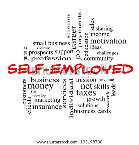 Self-Employed Word Cloud Concept in red caps with great terms such as business, money, owner and more. - stock photo