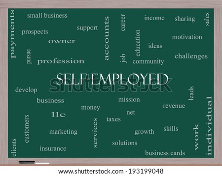 Self-Employed Word Cloud Concept on a Blackboard with great terms such as business, money, owner and more. - stock photo