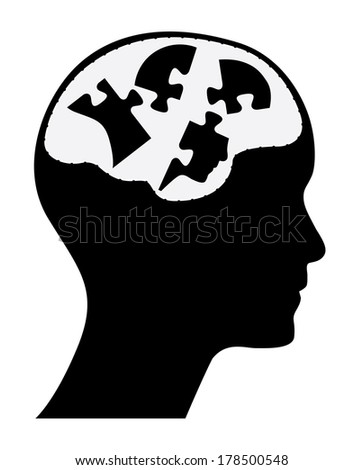 Self esteem concept illustration with human head and puzzle pieces. - stock photo