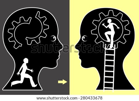 Self Help. Concept sign of a woman with a strong help yourself strategy  - stock photo
