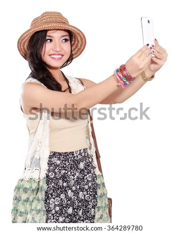 self-ie beautiful woman with cell phone, isolated on white background