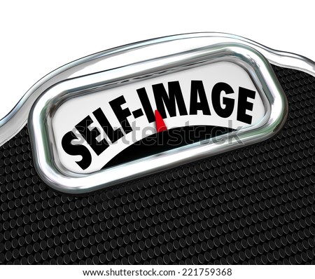 Self Image words on a scale display to illustrate the need to diet and lose weight to improve appearance - stock photo