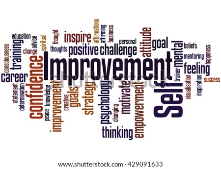 Self Improvement, word cloud concept on white background.
