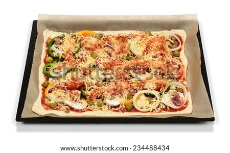 Self made topping pizza ready for baking - stock photo