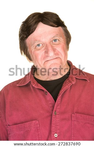 Self-Satisfied mature male over white background