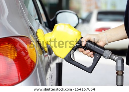 Self service FUEL Pump in station - stock photo