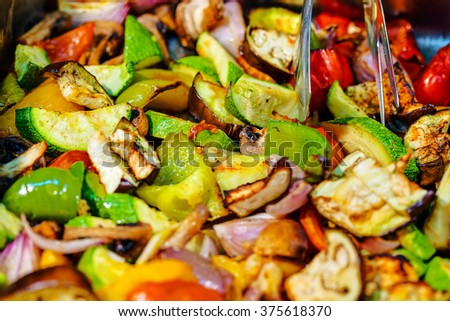 Self service restaurant with a vegetable dish - stock photo