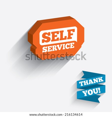 Self service sign icon. Maintenance button. White icon on orange 3D piece of wall. Carved in stone with long flat shadow.