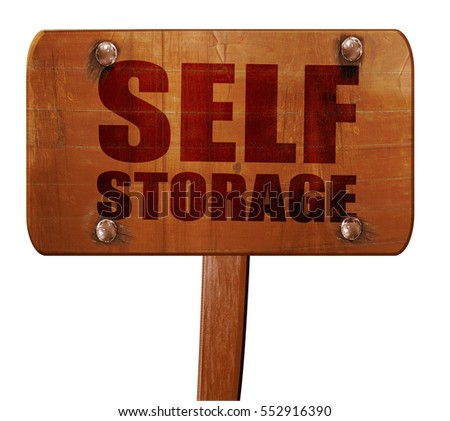 self storage, 3D rendering, text on wooden sign