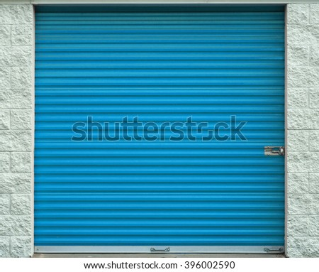 Self storage door. Life style, storage, moving, storing, organizing concept. - stock photo