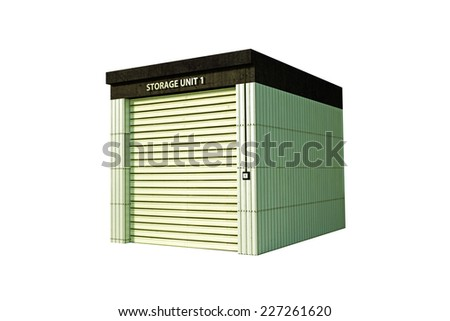 self storage isolated on white background - stock photo
