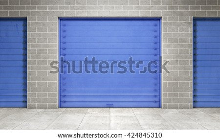 Self storage unit closed. 3d rendering