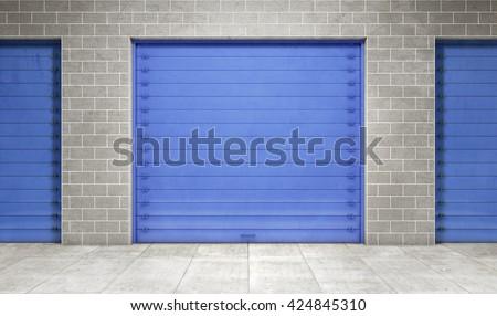Self storage unit closed. 3d rendering - stock photo