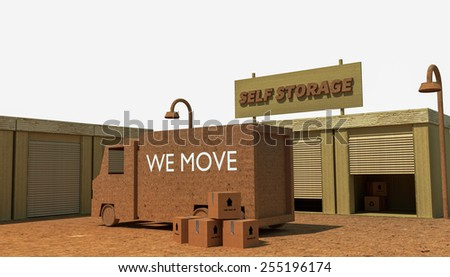 self storage units isolated on white background - stock photo