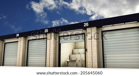 self storage with many cardboard boxes inside - stock photo