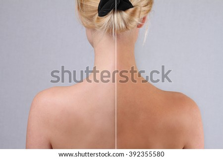Self tanning before and after results - stock photo