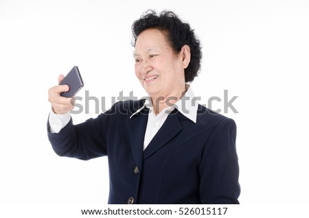 Selfie,Business Senior woman over white background