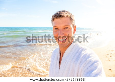selfie hotel photo of weekend travel man - stock photo