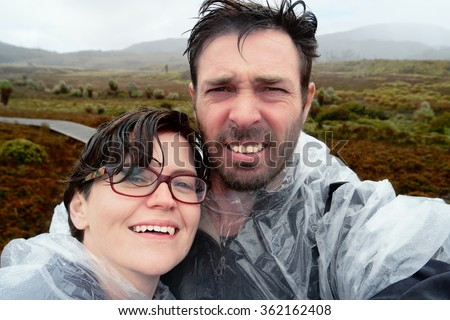selfie in rain on the famous world heritage overland track cradle mountian  filtered with instagram look - stock photo