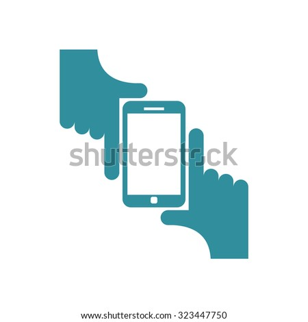 Selfie logo. Sign for fans to be photographed. Two hands hold Smartphone.   - stock photo