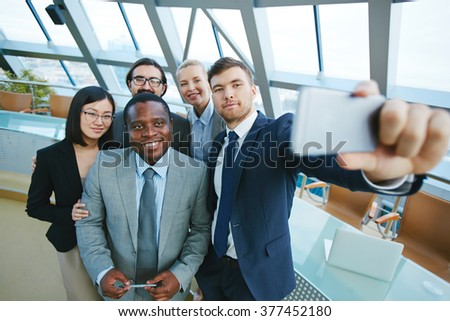 Selfie of employees - stock photo