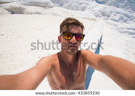 Selfie of man in Pammukale - stock photo