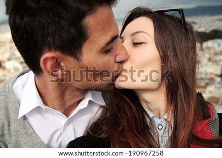 Selfie shot loving couple.Lovers kiss at a height,Acropolis,Athens.Travel selfie. - stock photo