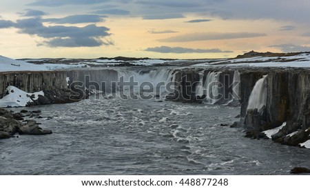 Selfoss, a waterfall on the river Jokulsa a Fjollum in the north of Iceland