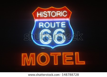 SELIGMAN, AZ - CIRCA 2000's: Route 66 Motel neon sign at night, Seligman, AZ.