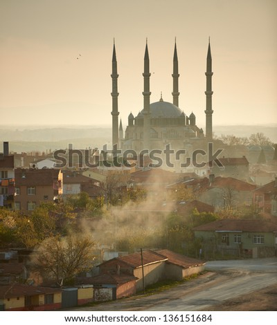 Selimie mosque, biggest muslim worship temple in Europe, in the centre of Edirne, Turkey. - stock photo