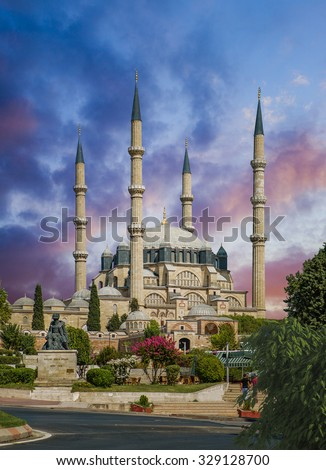 Selimiye Mosque in Edirne Turkey is one of the finest examples of Ottoman architecture - stock photo