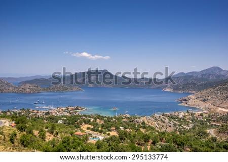 Selimiye on the south west coast of Turkey on the Brozburun Peninsula - stock photo