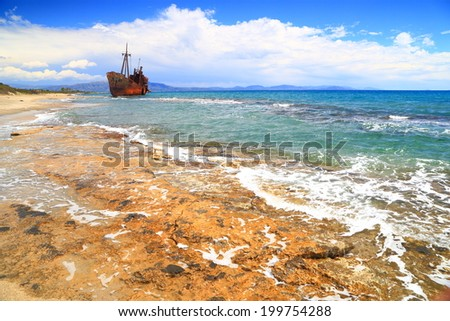 Selinitsa beach near Gythio with rusty shipwreck, Greece