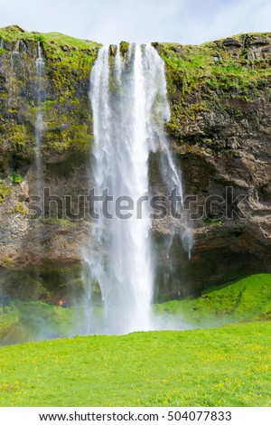 Seljalandsfoss is 60m high and one of the best known waterfalls in Iceland