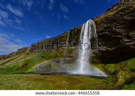 Seljalandsfoss waterfall, a popular and famous falls in south Iceland - stock photo