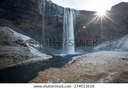 Seljalandsfoss waterfalls in Iceland - stock photo