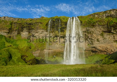 Seljalandsfoss waterfalls on the Iceland