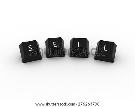 SELL Computer Keys on white background