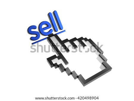 sell. 3d rendered inscription. Link and finger, pointer. Isolated on white - stock photo