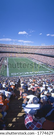 Sell-out crowd at Mile High Stadium, Broncos v. Rams, Denver, Colorado - stock photo
