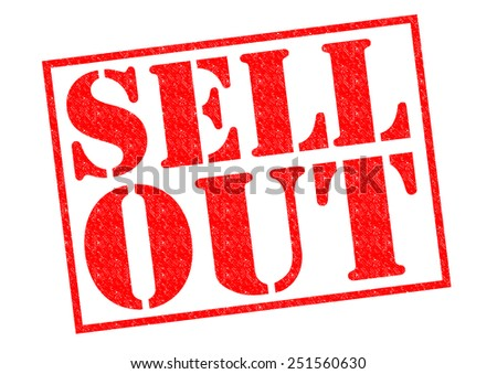 SELL OUT red Rubber Stamp over a white background.